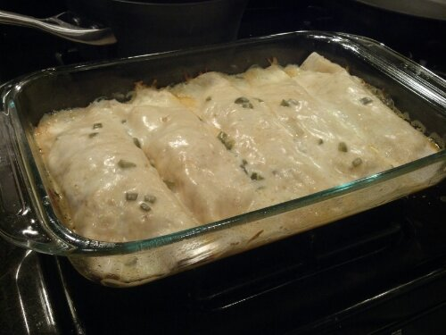 Grilled Shrimp Enchiladas with Jalapeño Cream Sauce