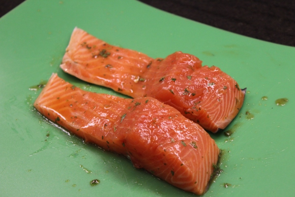 Salmon with the glaze, pre-foil